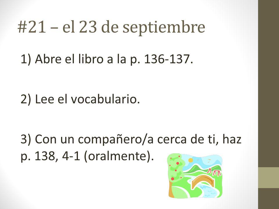 #21 – el 23 de septiembre 1) Abre el libro a la p.