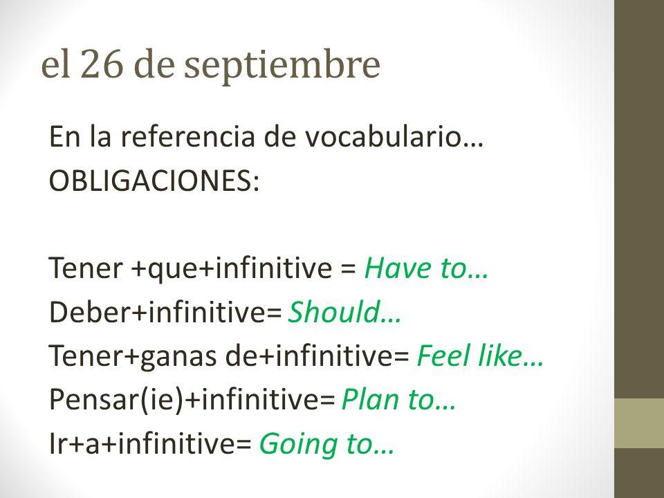 el 26 de septiembre