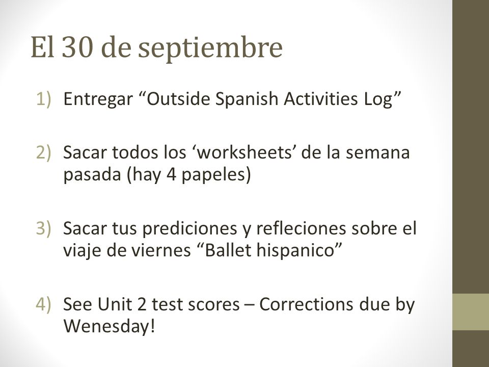 El 30 de septiembre Entregar Outside Spanish Activities Log