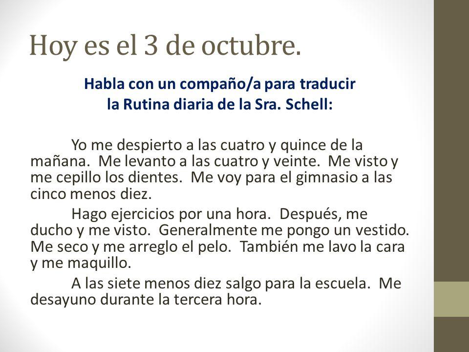 Hoy es el 3 de octubre.
