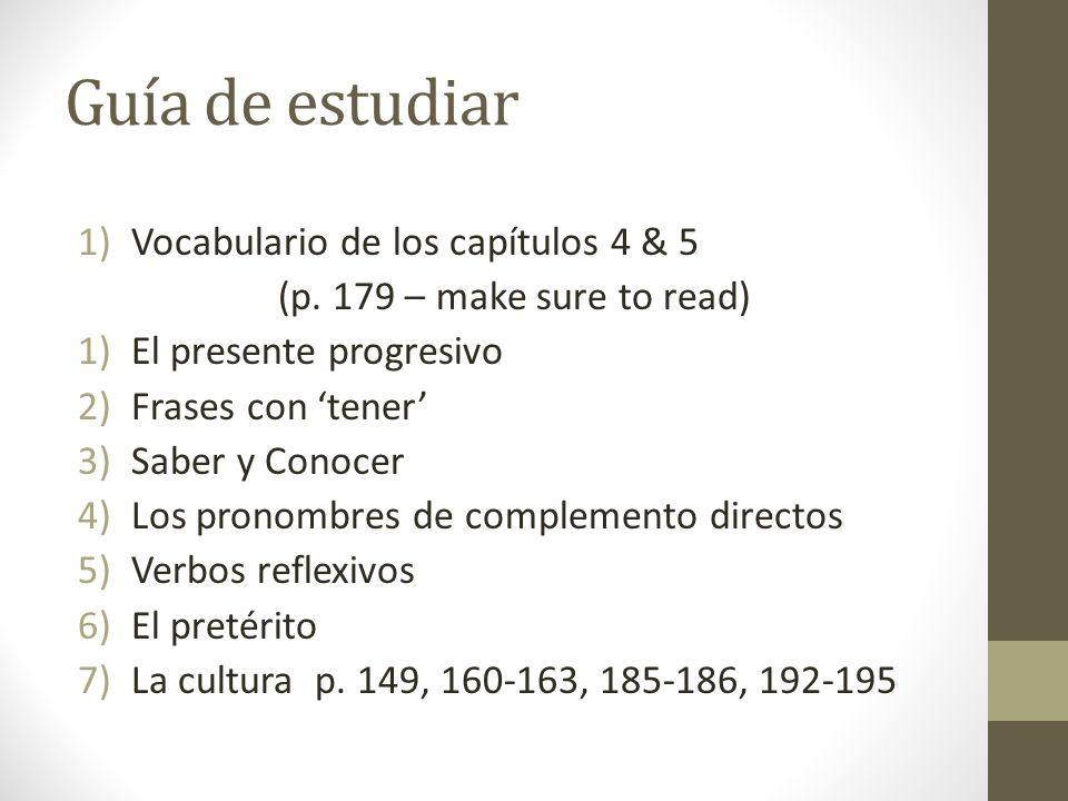 Guía de estudiar Vocabulario de los capítulos 4 & 5