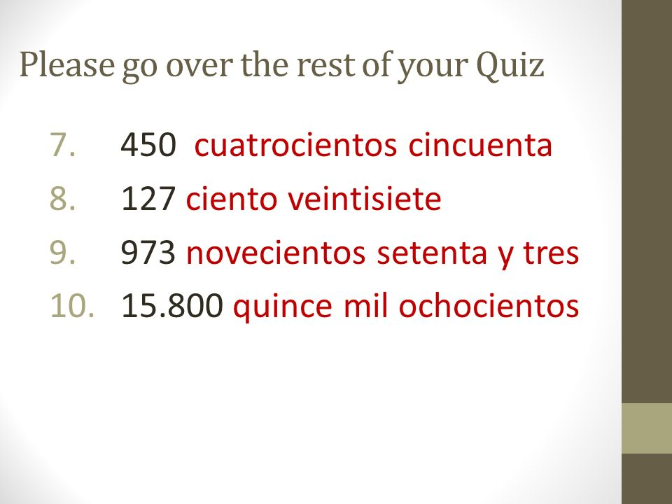 Please go over the rest of your Quiz