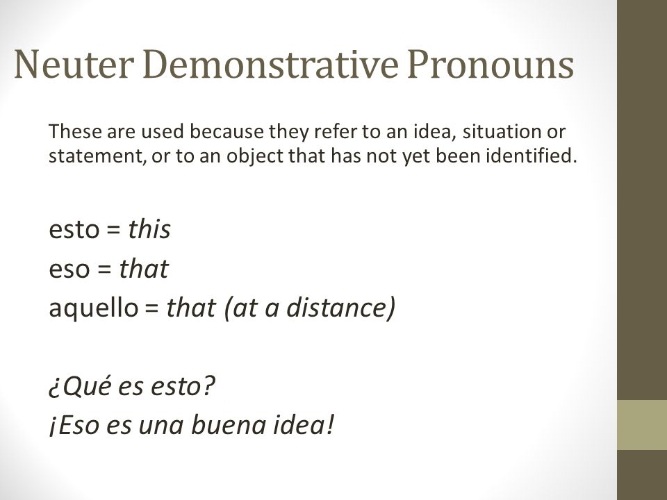 Neuter Demonstrative Pronouns