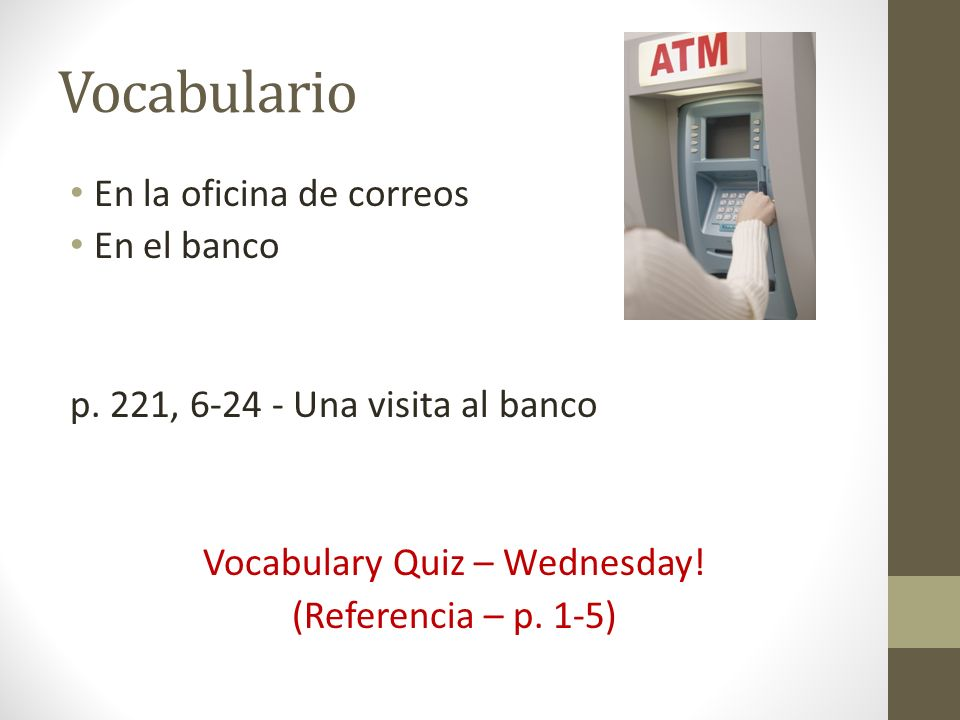 Vocabulary Quiz – Wednesday!