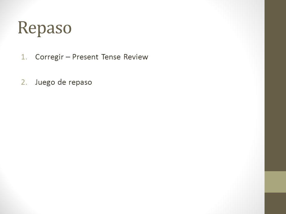 Repaso Corregir – Present Tense Review Juego de repaso