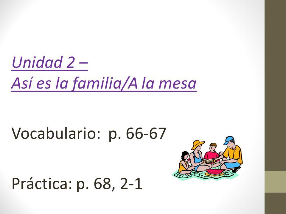 Unidad 2 – Así es la familia/A la mesa Vocabulario: p