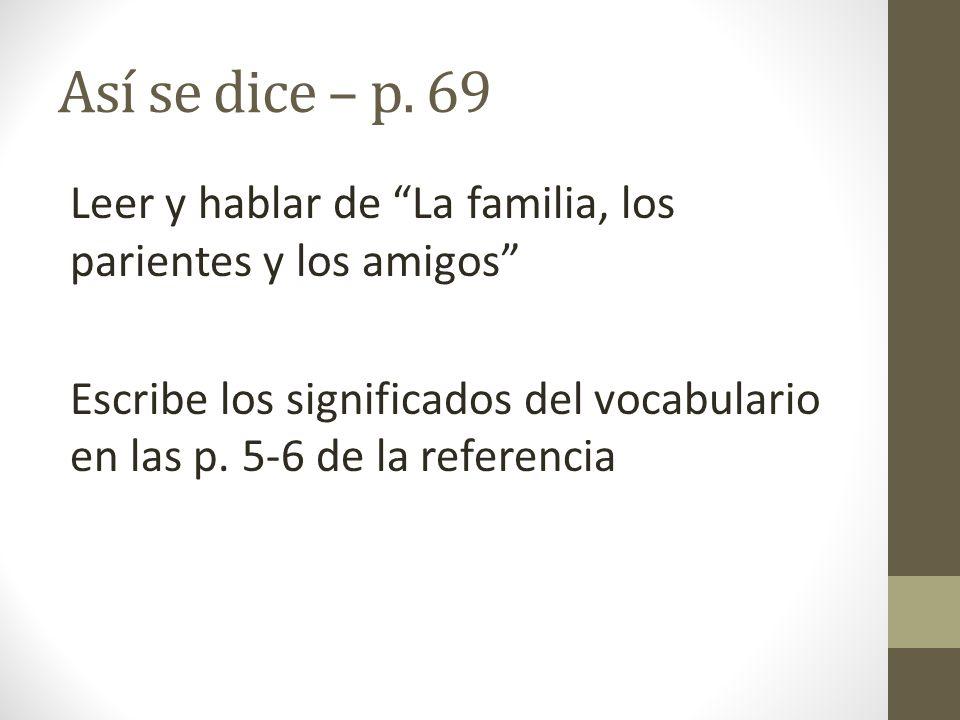 Así se dice – p. 69