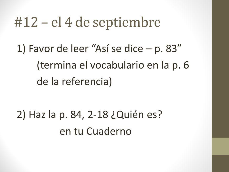 #12 – el 4 de septiembre