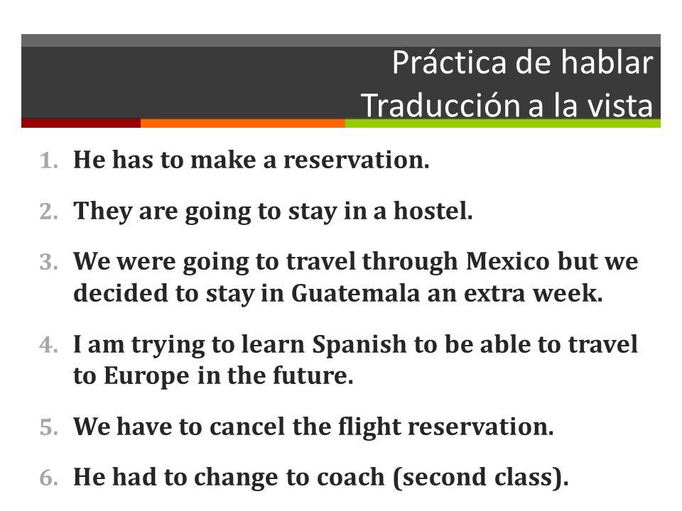 Práctica de hablar Traducción a la vista