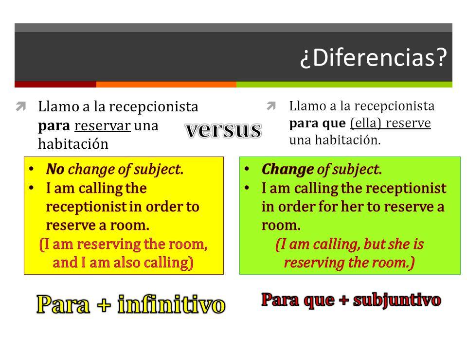 ¿Diferencias versus Para + infinitivo Para que + subjuntivo
