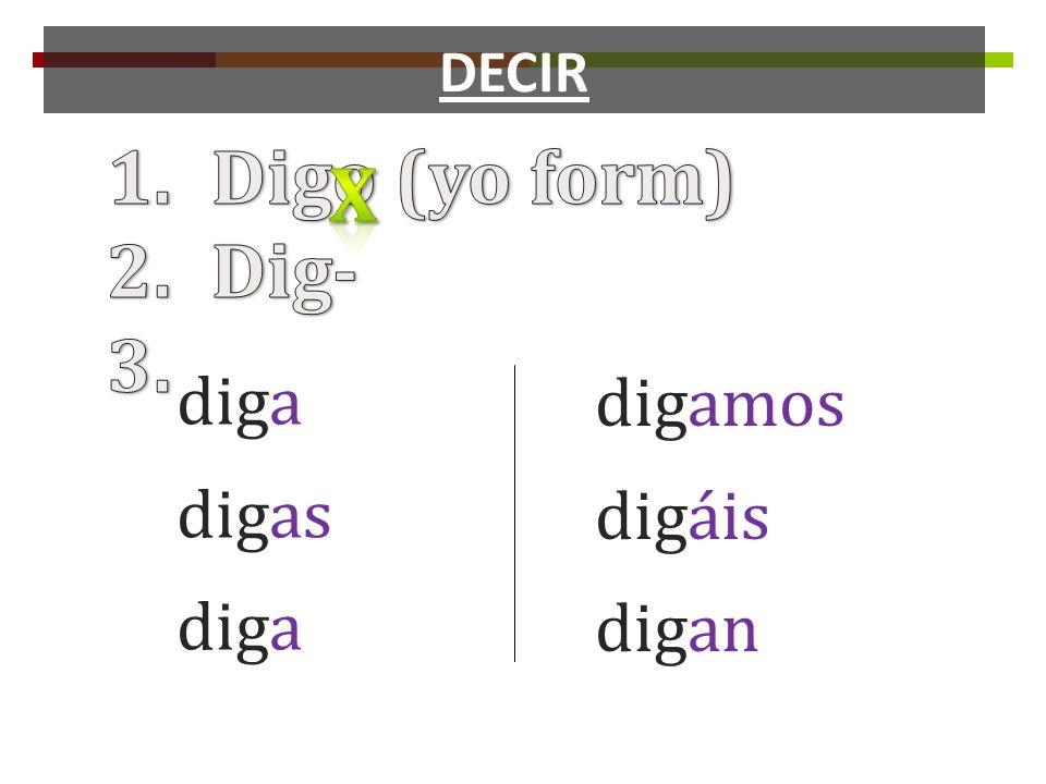 DECIR Digo (yo form) Dig- x diga digas digamos digáis digan