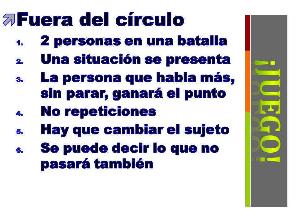 ¡Juego! Fuera del círculo 2 personas en una batalla