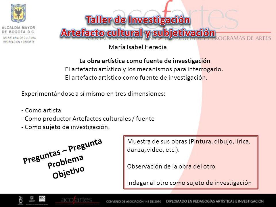 Taller de Investigación Artefacto cultural y subjetivación