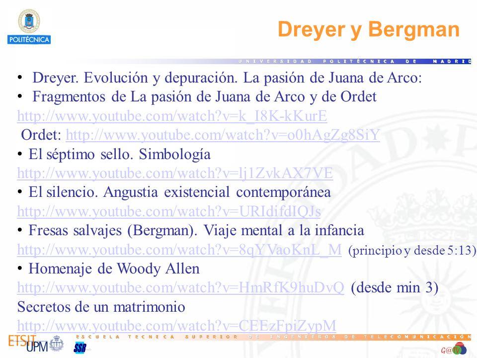 16 Dreyer y Bergman. Dreyer. Evolución y depuración. La pasión de Juana de Arco: Fragmentos de La pasión de Juana de Arco y de Ordet.