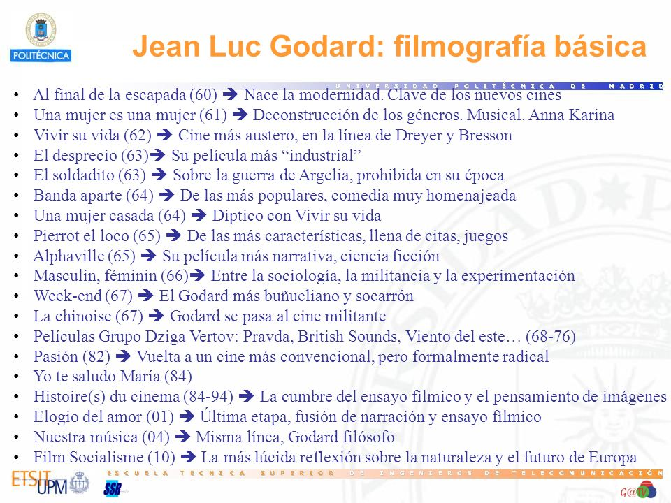 Jean Luc Godard: filmografía básica