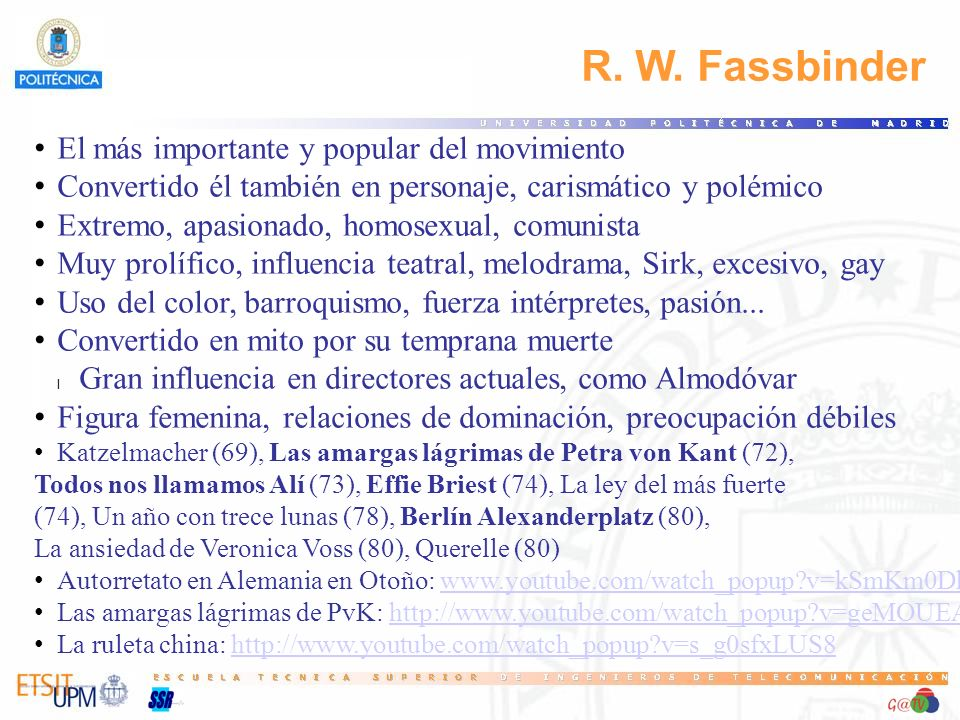 R. W. Fassbinder El más importante y popular del movimiento