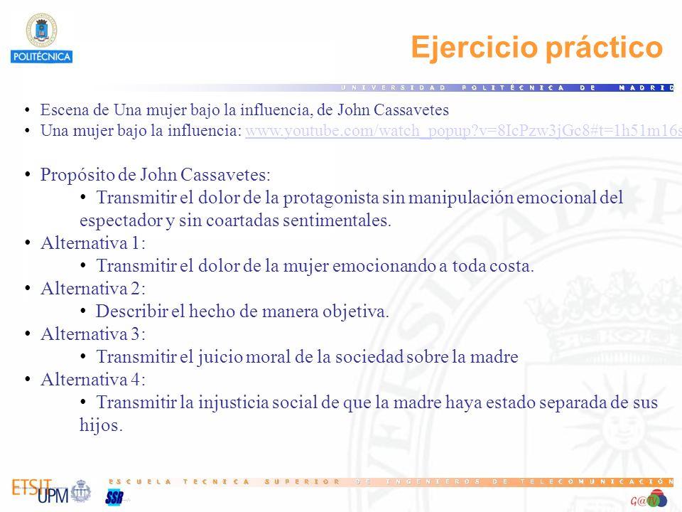 Ejercicio práctico Propósito de John Cassavetes: