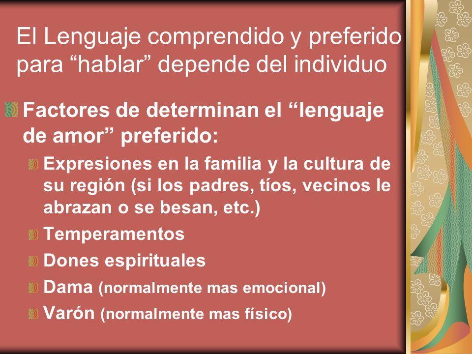 El Lenguaje comprendido y preferido para hablar depende del individuo