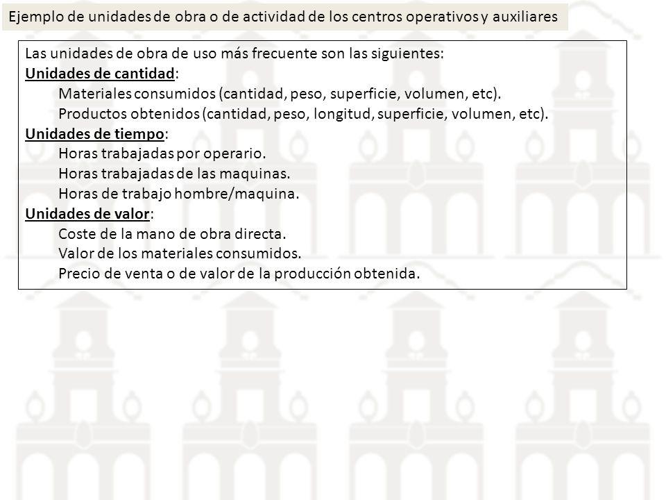 Ejemplo de unidades de obra o de actividad de los centros operativos y auxiliares