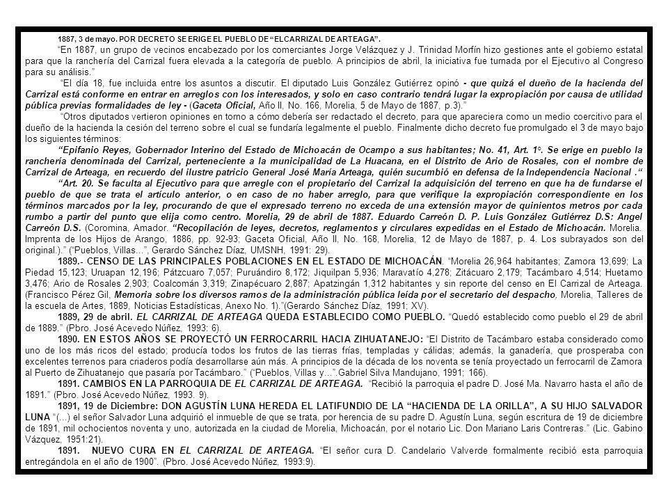 1887, 3 de mayo. POR DECRETO SE ERIGE EL PUEBLO DE ELCARRIZAL DE ARTEAGA .