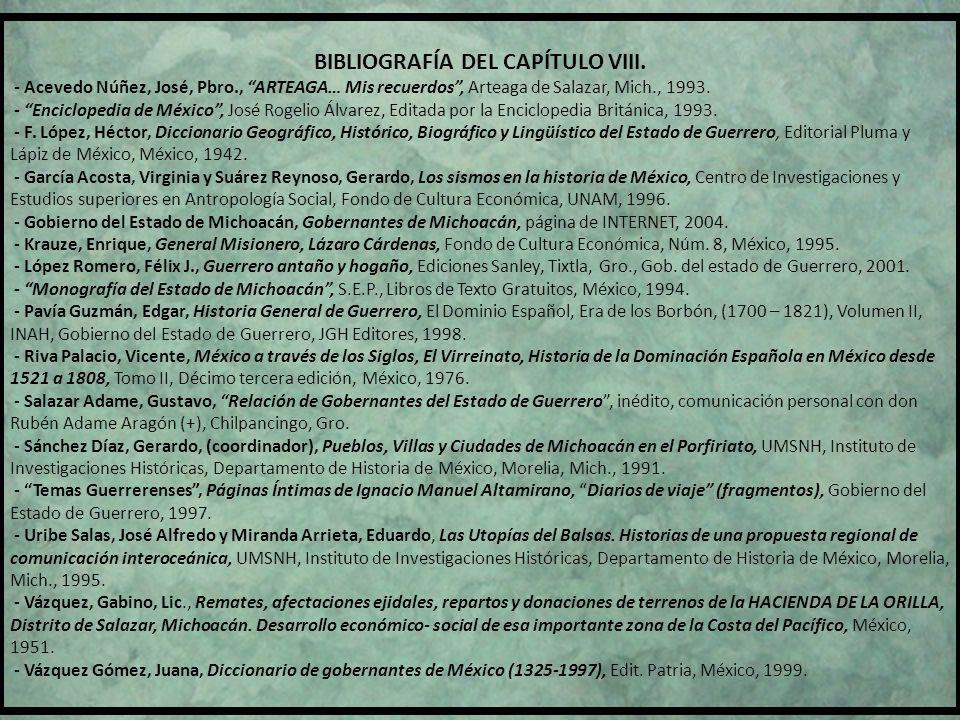 BIBLIOGRAFÍA DEL CAPÍTULO VIII.