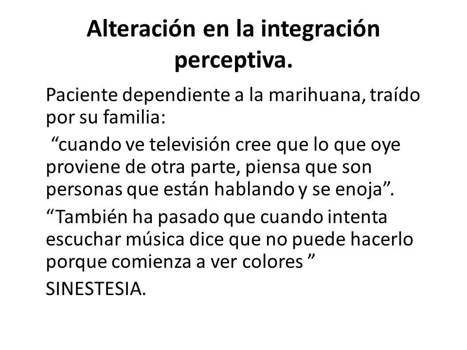Alteración en la integración perceptiva.