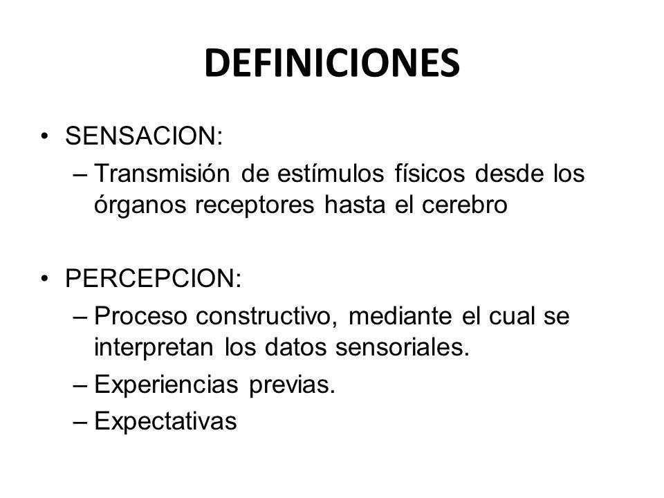 DEFINICIONES SENSACION: