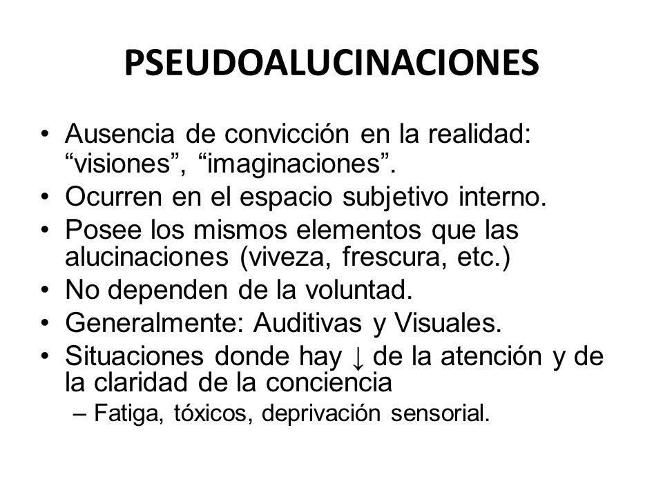 PSEUDOALUCINACIONES Ausencia de convicción en la realidad: visiones , imaginaciones . Ocurren en el espacio subjetivo interno.