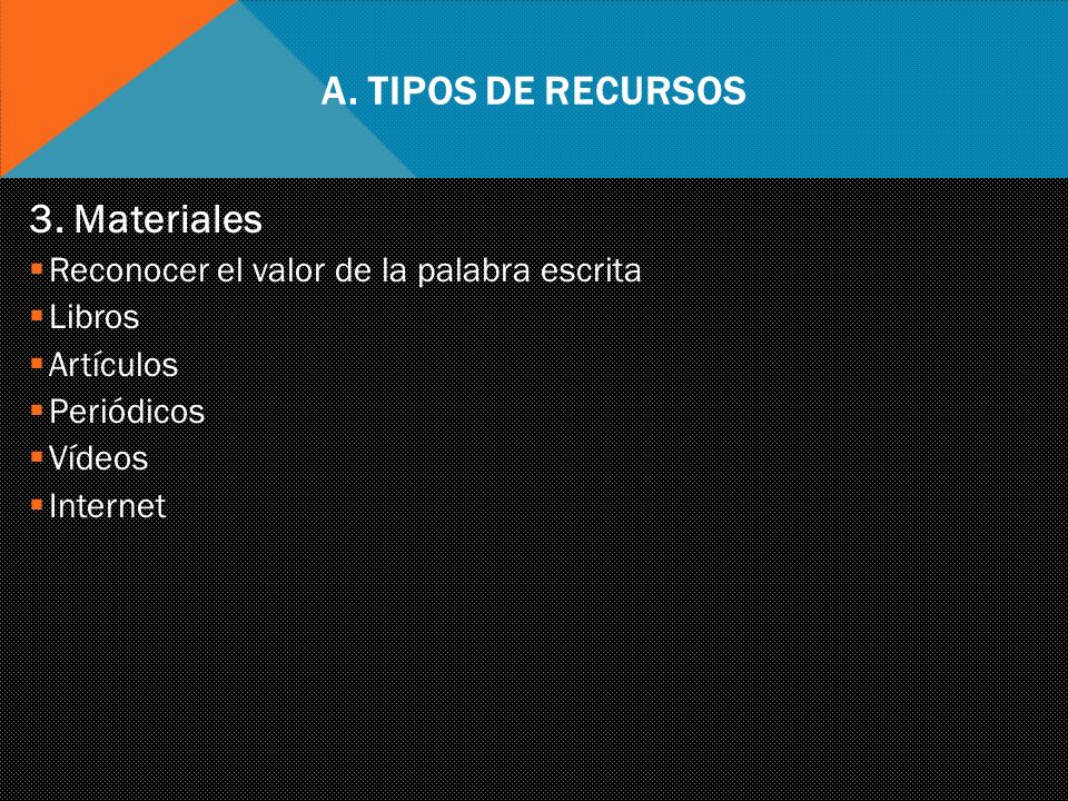 A. Tipos de Recursos 3. Materiales