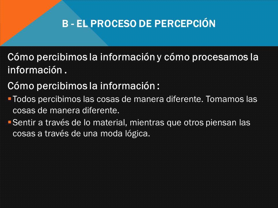 b - El Proceso de Percepción