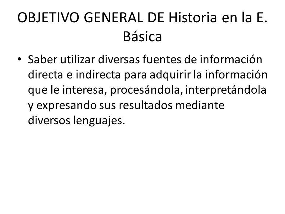 OBJETIVO GENERAL DE Historia en la E. Básica