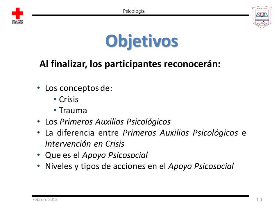 Objetivos Al finalizar, los participantes reconocerán: