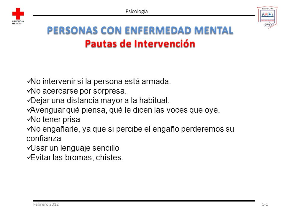PERSONAS CON ENFERMEDAD MENTAL Pautas de Intervención