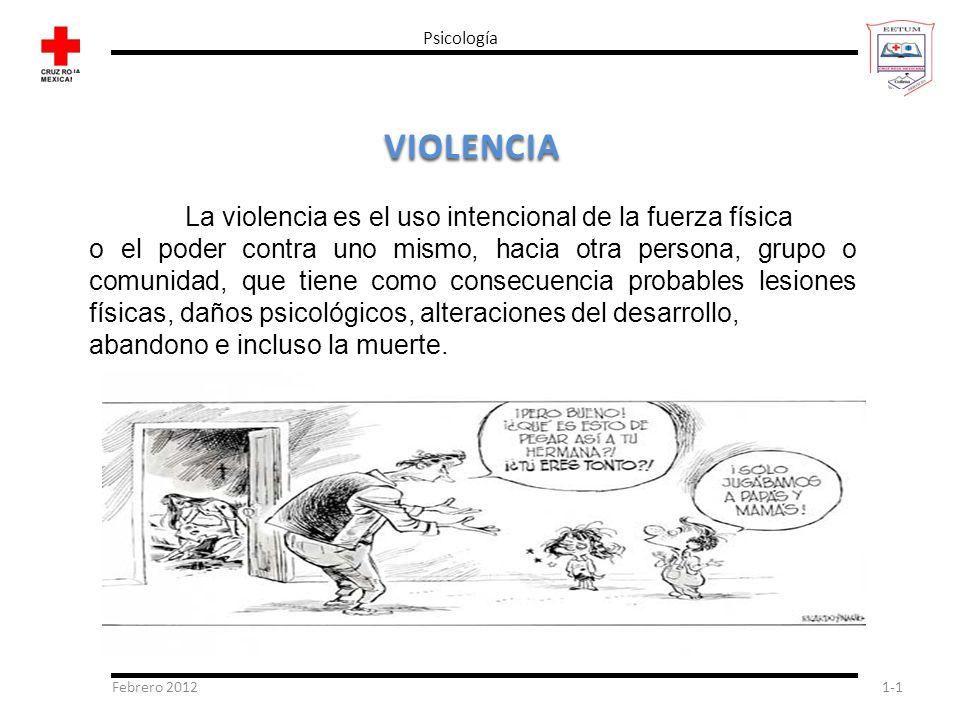 VIOLENCIA La violencia es el uso intencional de la fuerza física