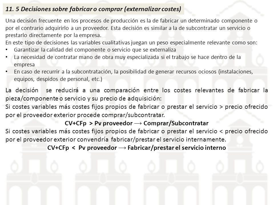 11. 5 Decisiones sobre fabricar o comprar (externalizar costes)