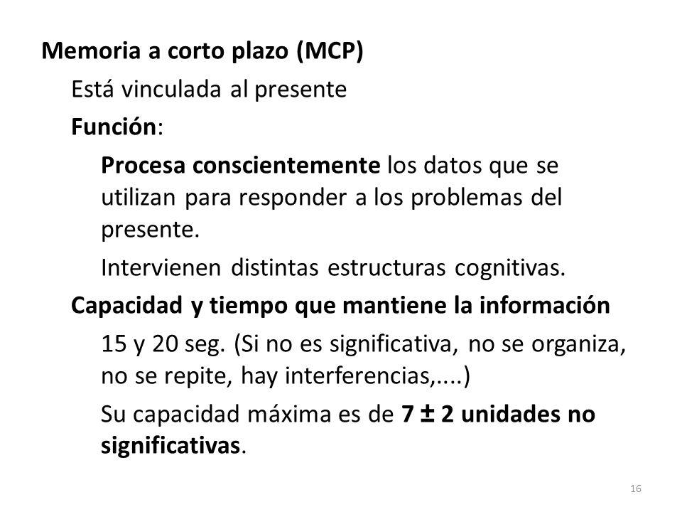 Memoria a corto plazo (MCP) Está vinculada al presente Función: Procesa conscientemente los datos que se utilizan para responder a los problemas del presente.