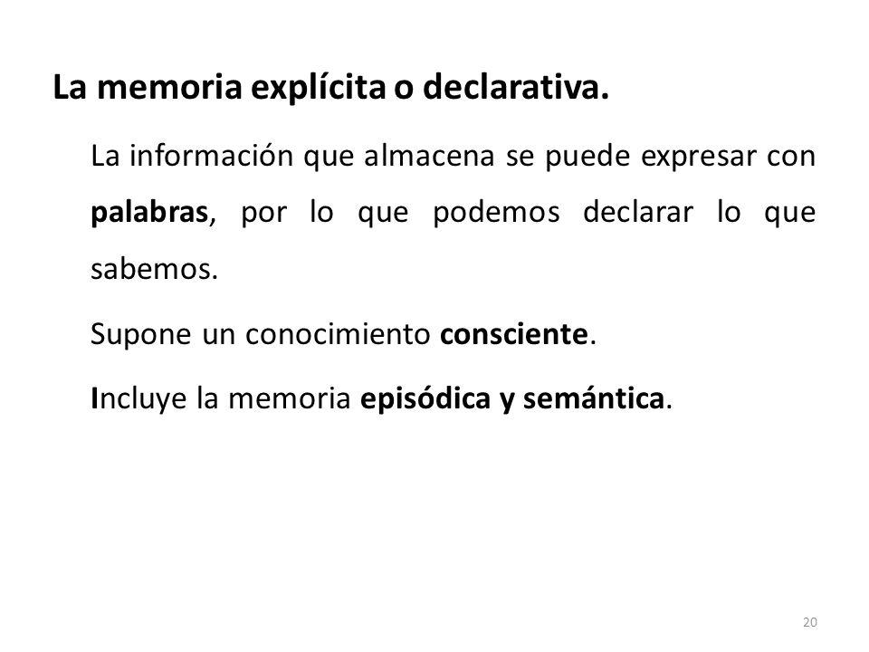 La memoria explícita o declarativa.