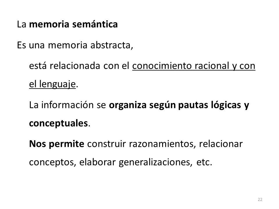 La memoria semántica Es una memoria abstracta, está relacionada con el conocimiento racional y con el lenguaje.