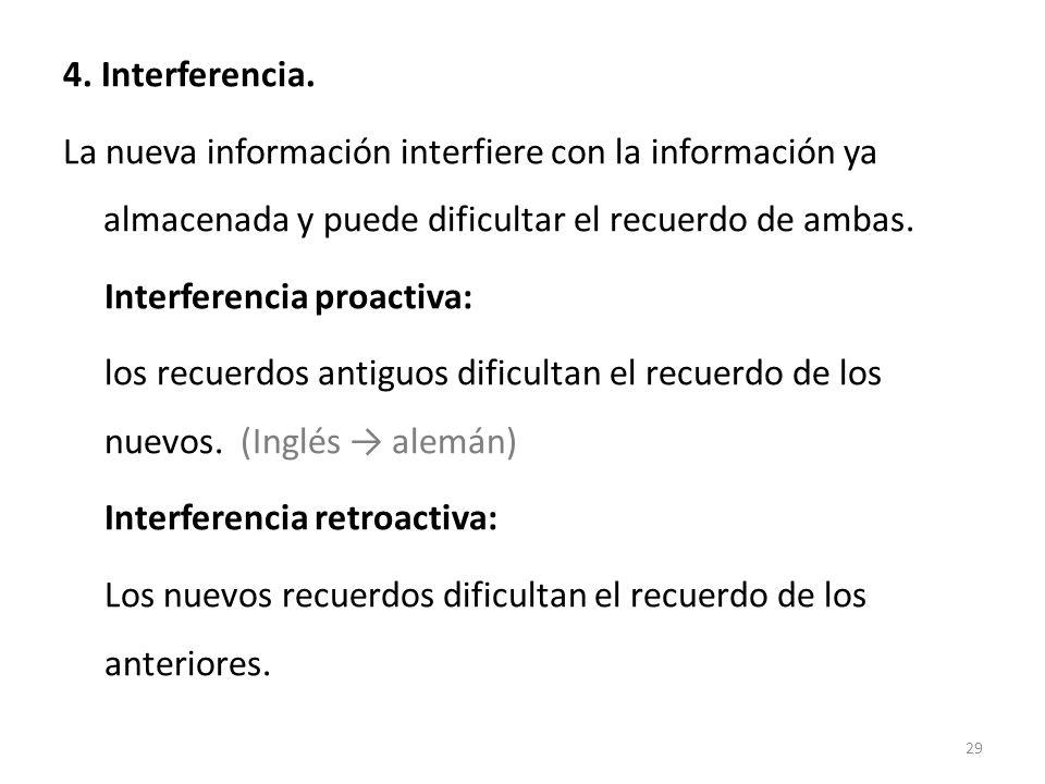 4. Interferencia. La nueva información interfiere con la información ya almacenada y puede dificultar el recuerdo de ambas.