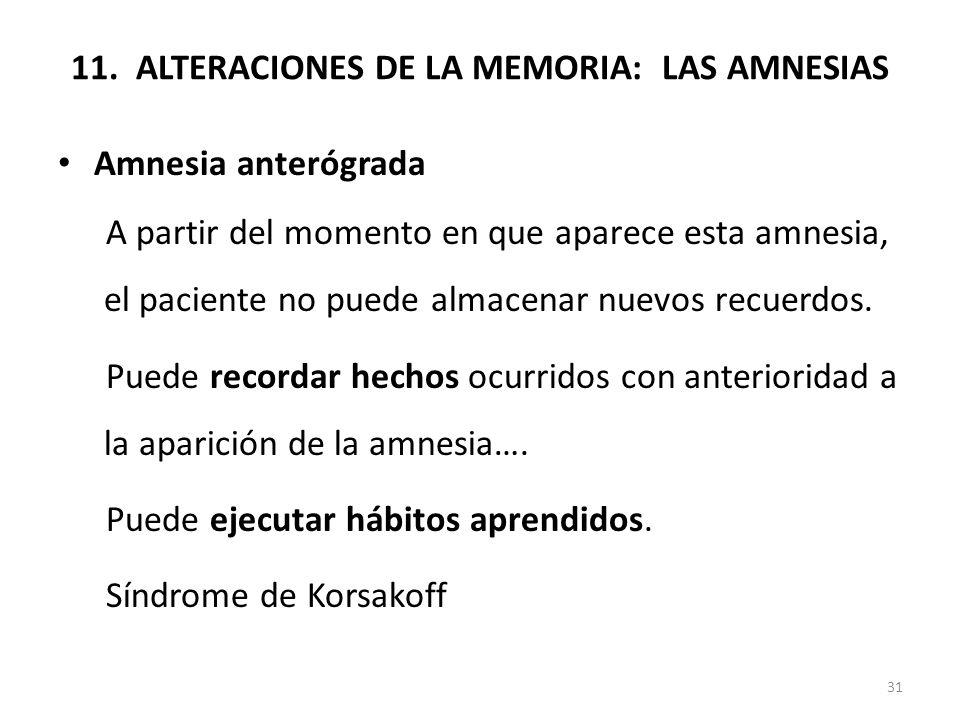 11. ALTERACIONES DE LA MEMORIA: LAS AMNESIAS