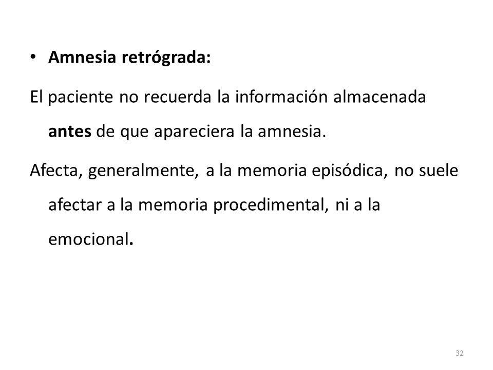 Amnesia retrógrada: El paciente no recuerda la información almacenada antes de que apareciera la amnesia.