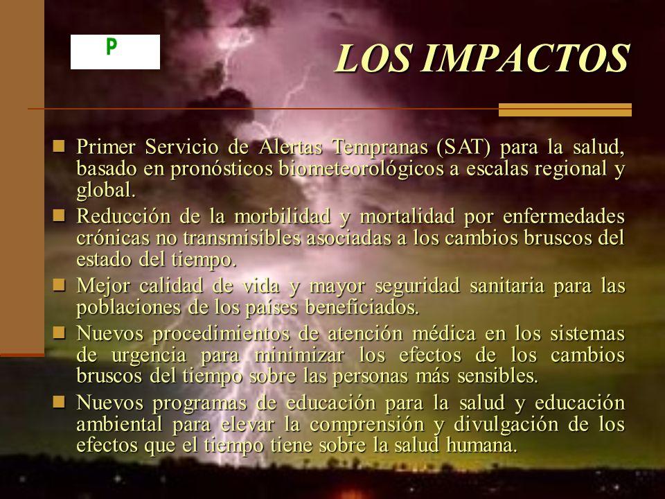 LOS IMPACTOS Primer Servicio de Alertas Tempranas (SAT) para la salud, basado en pronósticos biometeorológicos a escalas regional y global.