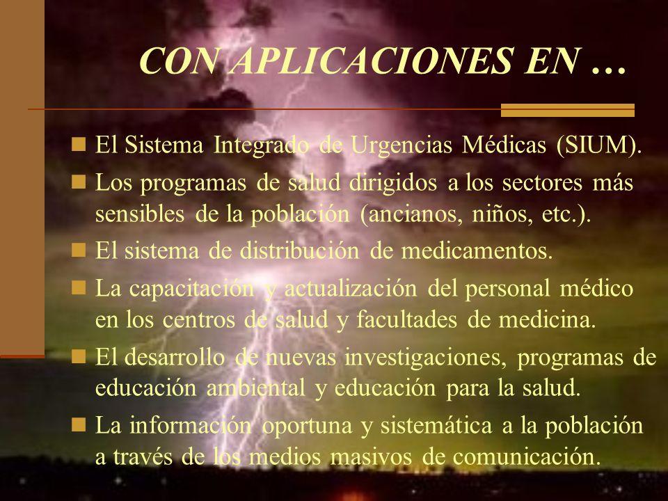 CON APLICACIONES EN … El Sistema Integrado de Urgencias Médicas (SIUM).