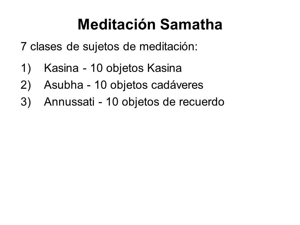 Meditación Samatha 7 clases de sujetos de meditación: