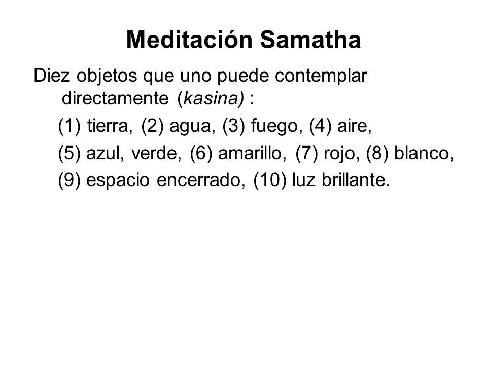 Meditación Samatha Diez objetos que uno puede contemplar directamente (kasina) : tierra, (2) agua, (3) fuego, (4) aire,