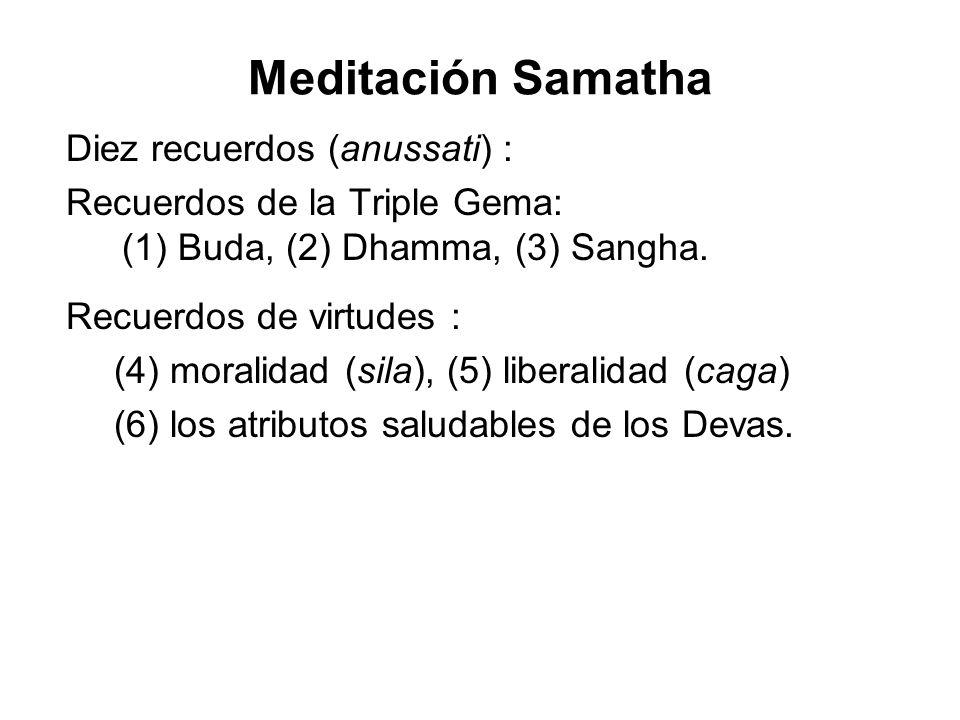 Meditación Samatha Diez recuerdos (anussati) :