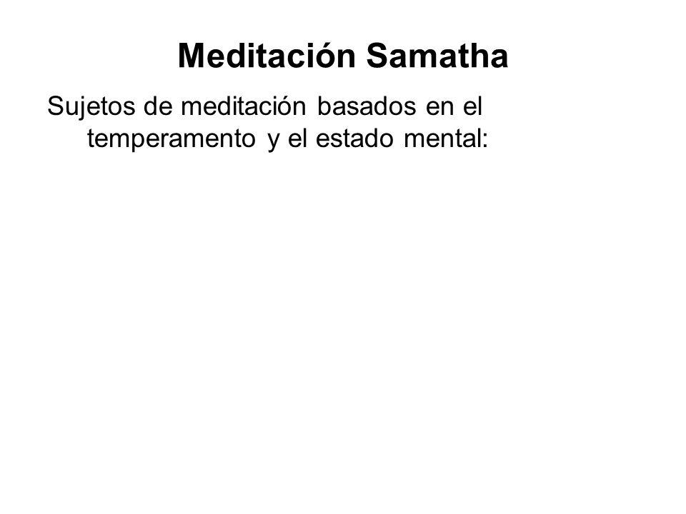 Sujetos de meditación basados en el temperamento y el estado mental: