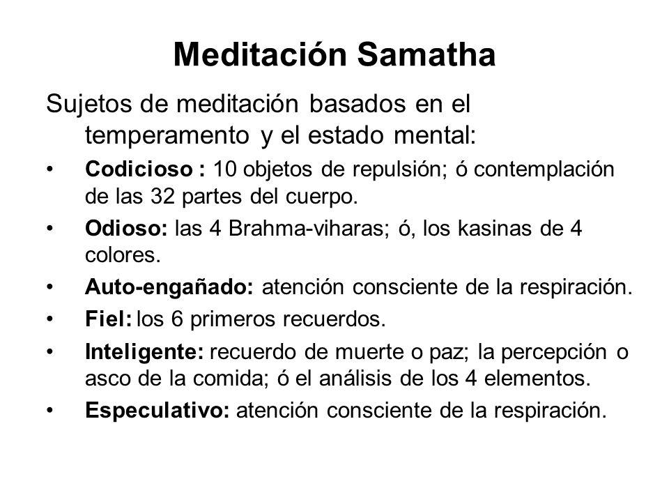 Meditación Samatha Sujetos de meditación basados en el temperamento y el estado mental: