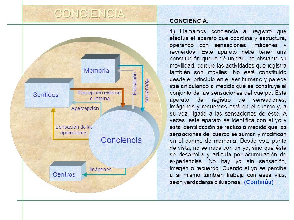 CONCIENCIA Conciencia Memoria Sentidos Centros CONCIENCIA.