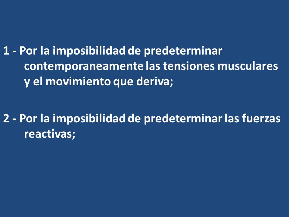 1 - Por la imposibilidad de predeterminar contemporaneamente las tensiones musculares y el movimiento que deriva;